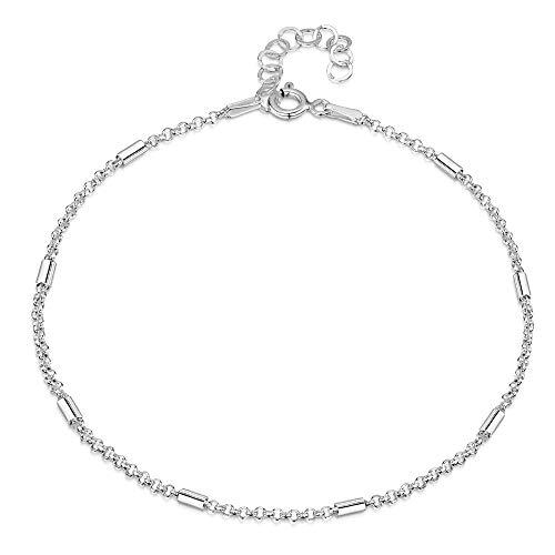 925 Fine Sterling Silver 1.4 mm Adjustable Anklet - Belcher Rolo Chain with Tubes Ankle Bracelet - 9