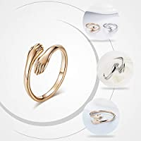 Excow Jewelry Hug Embrace Lovers Hands Open Ring Rosegold Silver Tone Stainless Steel Couples Wedding Engagement Bands