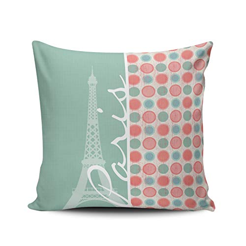 KAQIU Home Decoration Throw Pillowcase Teal Paris Salmon Coral Pink and Seafoam Custom Pillow case Cushion Cover Fashion Chic Design Double Sided Printed Square Size 24X24 Inch