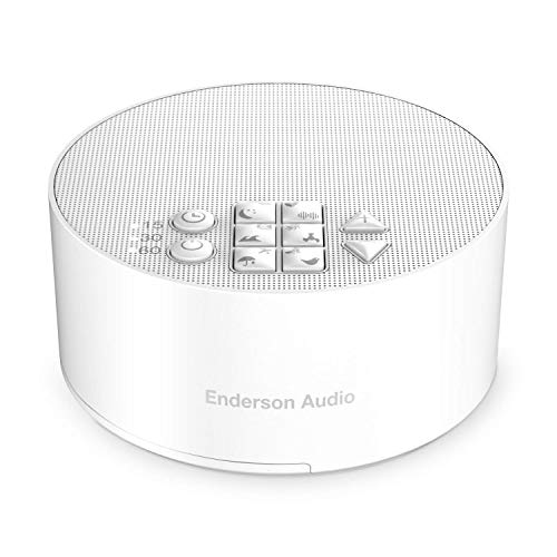 Enderson Audio Portable  Noise Machine with 12 Non-Looping Soothing Soundsn, 15 Levels of Volume, 3 Timer Settings & 30 Hours Runtime, White