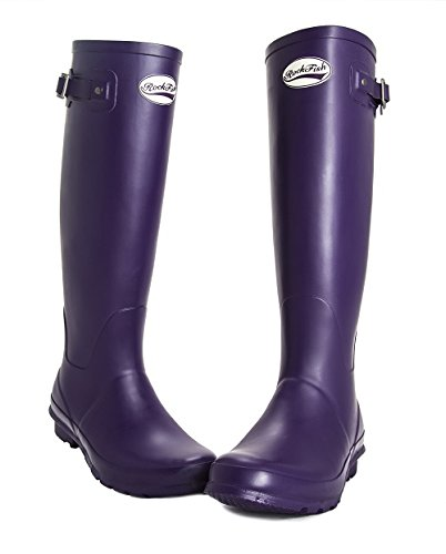 AWARD WINNING BOOTS, knee-high, ladies wellington boots, natural rubber, calendered, cushioned insole, Size 3, FREE DELIVERY Purple