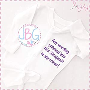 Personalised Embroidered Baby sleepsuit, Unique baby clothes,Embroidered with any wording in any writing colour.