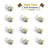 HighTechAutoAccessory TM - 10x 194 168 2825 T10 5 SMD White LED Car Lights Bulb (2016 Version) (T10 5-SMD 5050, White)