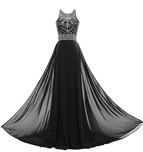 Élégant Des Femmes Solovedress Une Robe De Soirée Longue Robe De Bal Perles Ligne Robe De Demoiselle D'honneur Noir