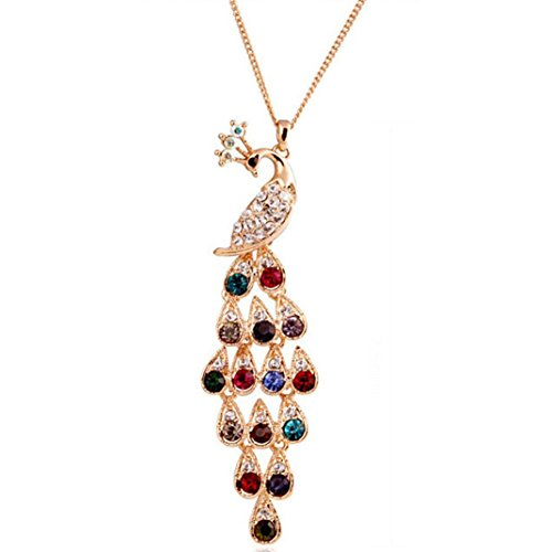 Quaanti Chain Sweater Necklace,Long crystal colored peacock sweater chain Jewelry Peacock Long Necklace Pendant Link Necklace Gifts dropship (Multicolor)
