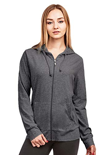 Women's Zip Up Cotton Light Hoodie Jacket (L, Charcoal)