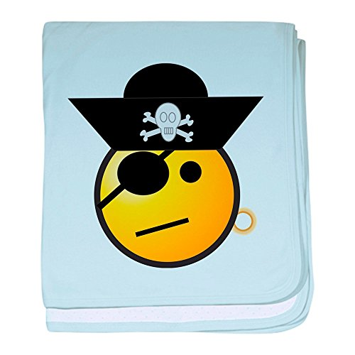 Truly Teague Baby Blanket Smiley Face Pirate - Sky Blue by Truly Teague