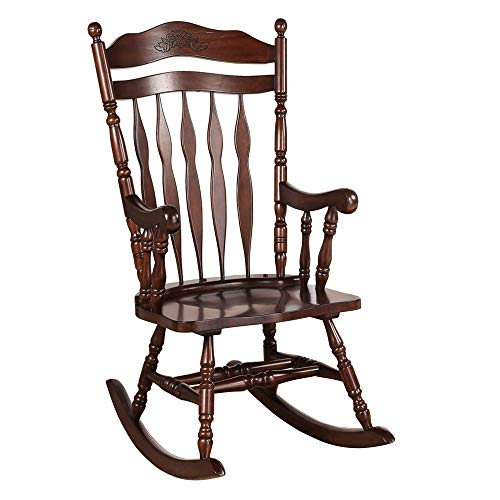 Bella E. Robin rocking chair with carving details 33″L x 25.5″W x 48″H Espresso