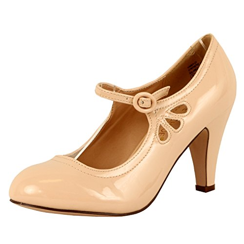 Chase and Chloe Kimmy-21 Mary Jane Teardrop Cutout T-Strap Pump Heel (8.5, Nude Patent)