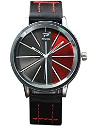 Mens Watches on Sale Clearance COOKI Men's Fashion Dress Wrist Watch with Two Color Dial Leather Band Unique Casual Alloy Quartz Watches Classic Business Wristwatch Calendar Date Week X44 (E)