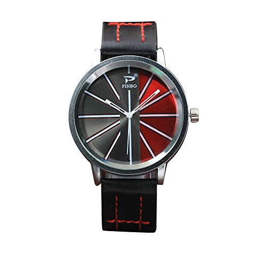 Mens Watches on Sale Clearance COOKI Men's Fashion Dress Wrist Watch with Two Color Dial Leather Band Unique Casual Alloy Quartz Watches Classic Business Wristwatch Calendar Date Week X44 - Time International Shipping