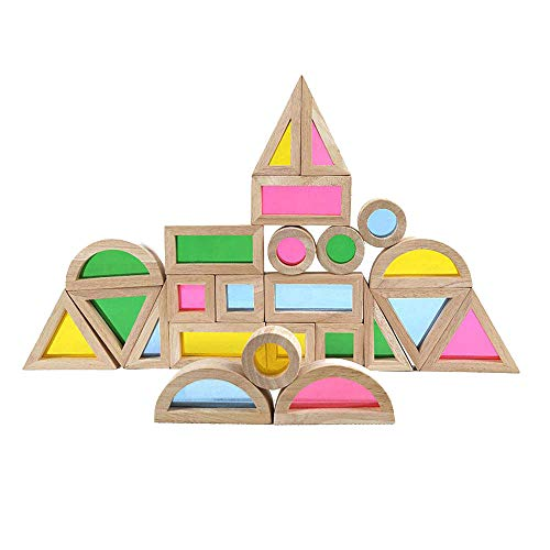 Rainbow Acrylic Blocks (24 pcs) - Wooden Toys for Preschoolers