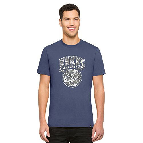 NBA New York Knicks Men's '47 Crosstown Flanker Tee, Bleacher Blue-Logo, (New York Knicks Vintage T-shirt)