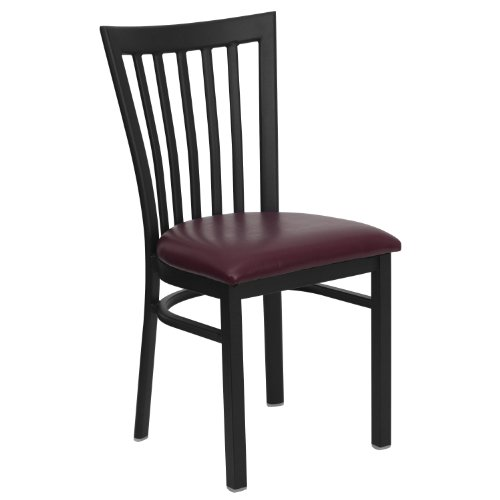 Chairs Schoolhouse Restaurant (MFO Black School House Back Metal Restaurant Chair - Burgundy Vinyl Seat)
