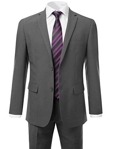 IDARBI Men's Modern Fit Suit 2-Piece Set Blazer & Dress Pants Set CHARCOAL 34R