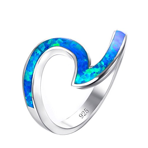 (Bamos 925 Sterling Silver Wave Ring Ocean Beach Lab Created Blue Opal.For women to show unlimited beauty sizes 8)