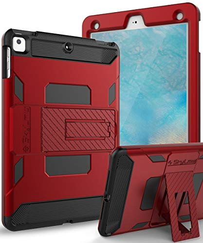 SKYLMW Case for iPad 5th/6th Generation,Heavy Duty Protection with Kickstand Stand Shockproof Protective Cases Cover for Apple iPad 9.7 inch 2017/2018,Air,Air 2,Pro 9.7,Red/Black ()
