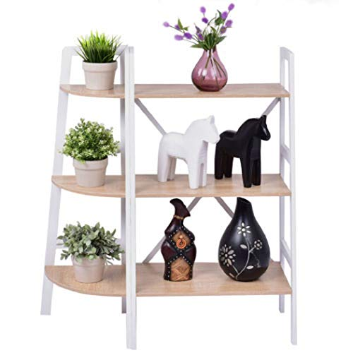 (GJH One Corner Ladder Shelf Bookshelf Set Bookcase Organizer Rack Holder Storage Rack Furniture 3-Tier 2PCS)