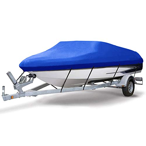 Boat Cover Neverland Waterproof Yacht Cover Heavy Duty 210D Oxford more Durability Blue Coated Sliver Elastic Rope Band Fits 20-22ft V Shape/V-Hull and Tri-Hull Runabouts,Pro-style,Bass Boats
