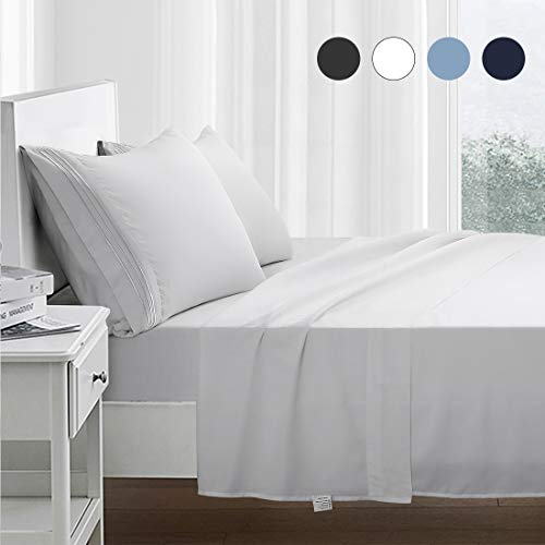RYONGII Bed Sheet Set - 4 Piece - Super Soft Microfiber Sheets Set - Fade Resistant Hotel Luxury Bedding - Hypoallergenic – Wrinkle Resistant - Deep Pocket - Easy Care