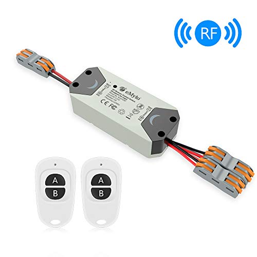 eMylo Smart Relay Switch Wireless RF DC 12V Two 2-Channel Remote Control Switch 5V-24V RF Relay Switch Home Automation 433Mhz with Two Transmitters 1 pack ()