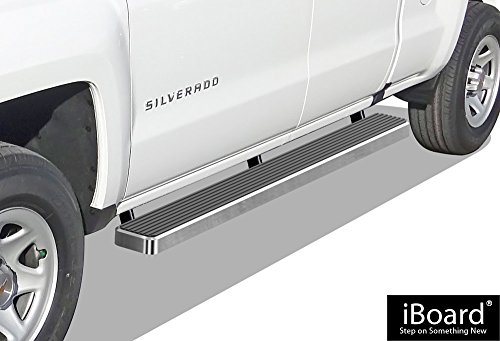 Double Cab Step Boards - APS iBoard (Silver 6 inches) Running Boards | Nerf Bars | Side Steps | Step Rails for 2007-2018 Chevy Silverado/GMC Sierra Double Cab/Extended Cab