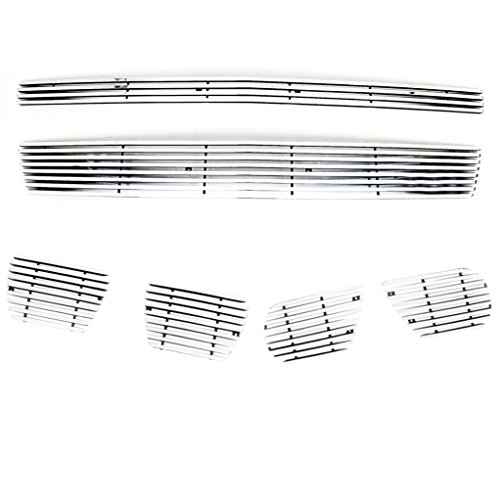 Suburban Pilot Grille Insert (E-Autogrilles Aluminum Polished 4mm Horizontal Overlay Billet Grille without Tow Hooks Combo Kit (Includes Grille/Tow Hooks/Fog Light Inserts) for 07-14 Chevrolet Tahoe/Suburban/Avalanche)