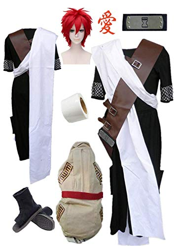- Naruto Sabakuno Gaara Cosplay Costume Accessory Cosplay Full Set Halloween (Male S) Black