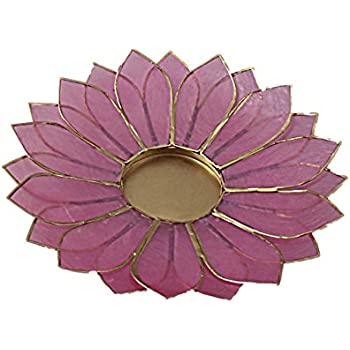 The Crabby Nook Lotus Candle Holder Capiz Shell Flat 2 Layer Decorating Accent Home Decor Gift Ideas, Pastel Light Pink