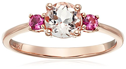 (10k Rose Gold Morganite and Pink Tourmaline Solitaire Engagement Ring, Size 7)