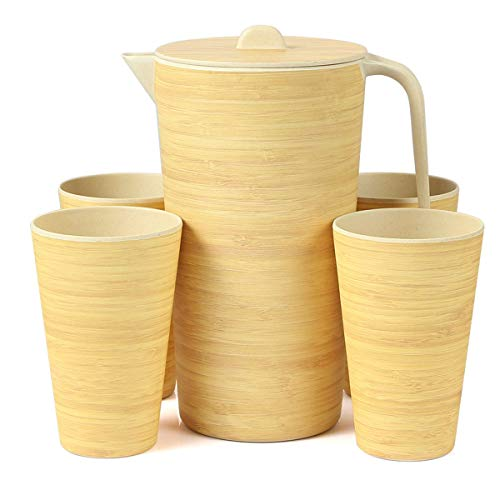 (Water Pitcher Set with Lid and 4 Cups, Bamboo Water Carafe for Lemon Fruit Iced Tea, Eco-friendly Beverage Pitchers for Home, Restaurant, Party, BBQ)