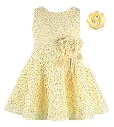 CAIYCAI 2019 Cute Kids Clothes Baby Girls Dress Princess Dress Floral Bottom Girls Rose Petal Hem Tutu Dress,Light Yellow,Uncle