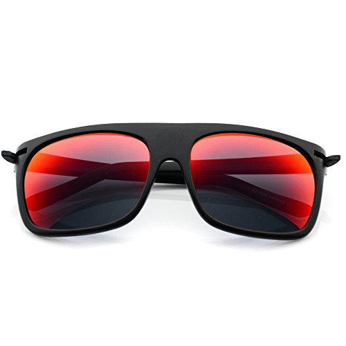 New Men Flat Top Wayfarer Sunglasses with Mirror Lens Mirror Red