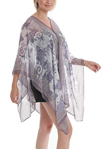 Womens Casual Cover Ups Lightweight Chiffon Scarf Swimsuit Fashion Dress Gray Purple Flower