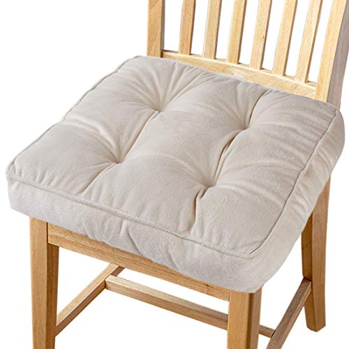 "Big Hippo Chair Pads Square Cotton Chair Cushion with Ties Soft Thicken Seat Pads Cushion Pillow for Office,Home or Car Sitting 17"" x 17""(Beige)"