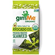 gimMe Organic Roasted Seaweed - Sea Salt & Avocado Oil - 12 Count Sharing Size - Keto, Vegan, Gluten Free - Great Source of Iodine and Omega 3's - Healthy On-The-Go Snack for Kids & Adults