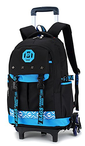 b64f88c147 Meetbelify Kids Rolling Backpacks Luggage Six Or Two Wheels Unisex Trolley  School Bags. by Belify. Color  Blue with 6 wheels