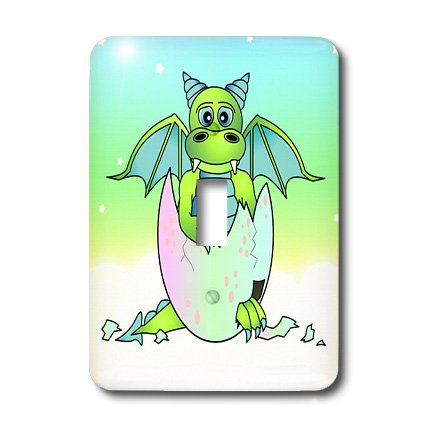 3dRose LLC lsp_25408_1 Green Baby Dragon in Cracked Egg, Single Toggle Switch