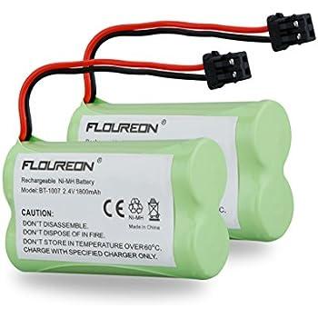 FLOUREON 2Packs 2.4V 1800mAh Cordless Phone Batteries Replacement Handset Phone Batteries for Uniden BT-1007 BT1007 BT-904 BT904 BBTY0707001