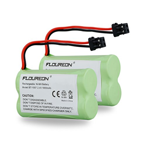 FLOUREON 2Packs 2.4V 1800mAh Cordless Phone Batteries Replacement Handset Phone Batteries for Uniden BT-1007 BT1007 BT-904 BT904 BBTY0707001