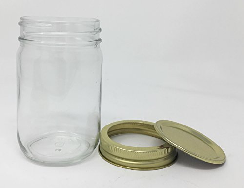 12 oz Old Fashioned Glass Jar with Gold 2 Piece Lid by Packaging For ()