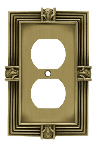 (Franklin Brass 64472 Pineapple Single Duplex Outlet Wall Plate/Switch Plate/Cover, Tumbled Antique Brass)