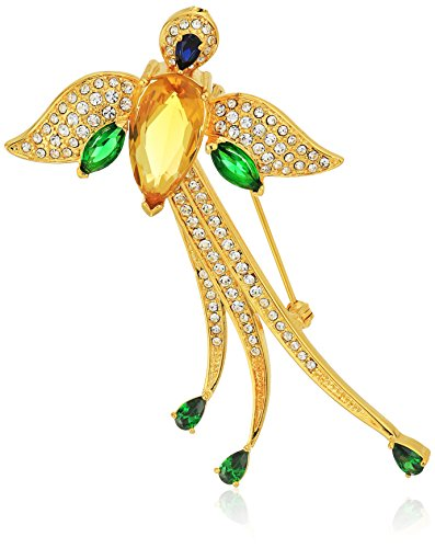 18k Gold Over Fine Silver Plated Bronze Created Blue Sapphire, Cubic Zirconia, and Crystal Bird of Peace Brooch ()