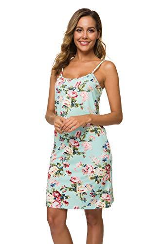 Spaghetti Strap Slip - Malist Women's Adjustable Spaghetti Strap Cami Full Slip Under Dress Floral Green X-Small