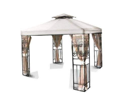 New MTN Gearsmith 10'x10' 2-Tiered Replacement Garden Gazebo Canopy Top Sun Shade - Beige Ivory Green Burgundy Brown (New Gazebo)