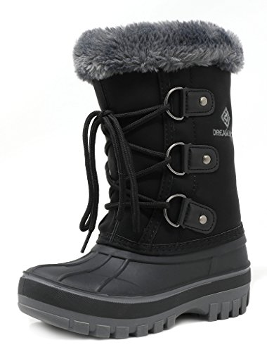 Large Product Image of DREAM PAIRS Big Kid Forester Black Ankle Winter Snow Boots Size 6 M US Big Kid