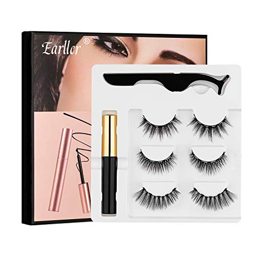 EARLLER 3 Pairs Magnetic Eyelashes and Eyeliner Kit, Reusable 3D Magnetic False Eye Lashes With Applicator - Natural Look, Waterproof, Easy to Use and No Glue Needed Eyelashes Set