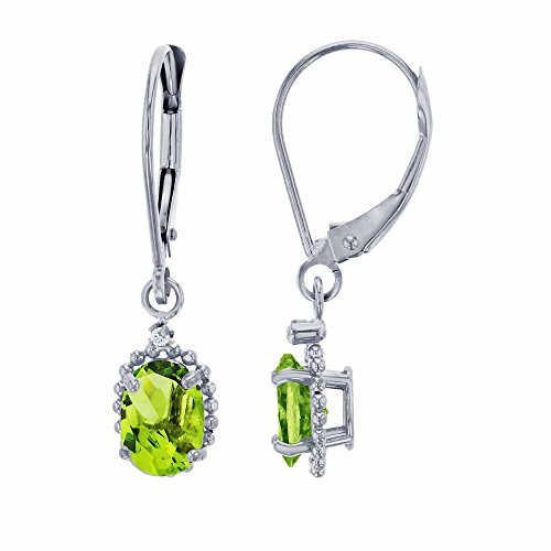 14K White Gold 1.25mm Round White Topaz & 6x4mm Oval Peridot Bead Frame Drop Leverback Earring