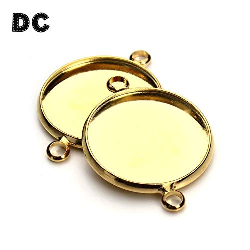 Laliva DC 10pcs Round Blank Cameo Cabochon Tray Base 10mm 12mm 14mm 16mm 18mm 20mm 25mm Double Loops Charms Bracelet Connector Findings - (Color: Gold Color F3327, Size: 25mm)