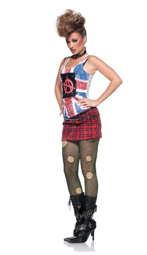 Misfits Halloween Costumes (Anarchy Punk Rock Babe Sexy Misfit Plaid Skirt Womens Halloween Fancy Costume L)